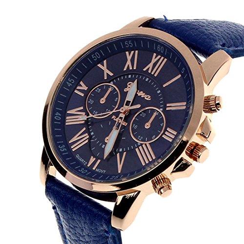 Vovotrade®Neue Damenmode Genf römischen Ziffern-Leder-analoge Quarz-Armbanduhr(Dunkelblau)