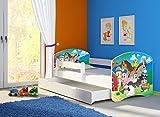 Clamaro 'Fantasia Weiß' 160 x 80 Kinderbett Set inkl. Matratze, Lattenrost und mit Bettkasten Schublade, mit verstellbarem Rausfallschutz und Kantenschutzleisten, Design: 34 Kleine Farm