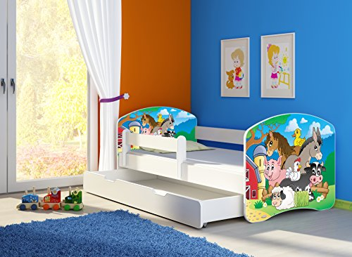 funktionsbett kinderzimmer Clamaro 'Fantasia Weiß' 160 x 80 Kinderbett Set inkl. Matratze, Lattenrost und mit Bettkasten Schublade, mit verstellbarem Rausfallschutz und Kantenschutzleisten, Design: 34 Kleine Farm
