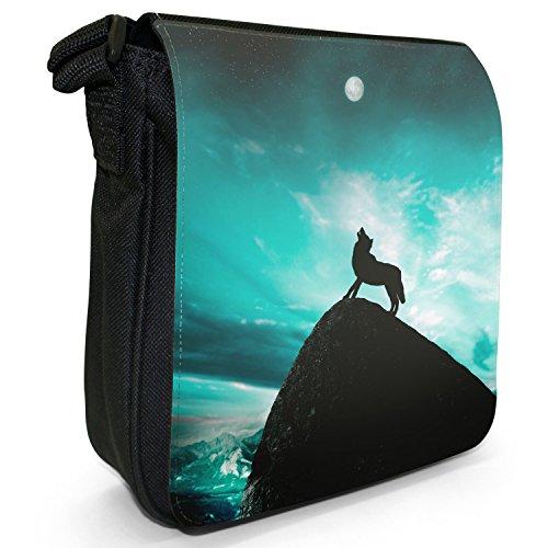 Heulender Wolf bei Vollmond Kleine Schultertasche aus schwarzem Canvas Türkis