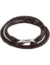 DonDon pulsera de cuero suave trenzada de color café con cierre de acero inoxidable para hombres