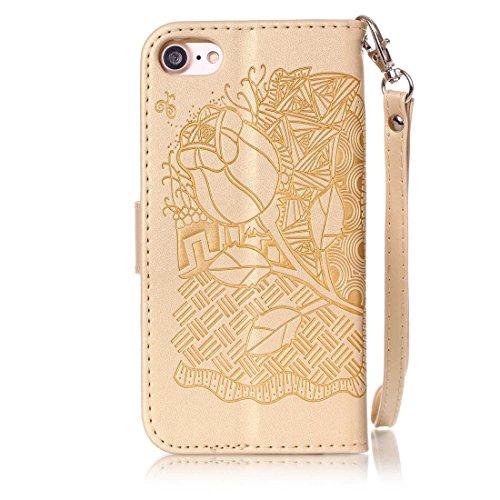 iphone 7(4.7inch) Coque,Flip Coque cover PU Cuir Housse Protection Cover pour iphone 7(4.7inch)- Stand soutien/Card Slot /fermeture magnétique-Fleur d'or Gold Rose
