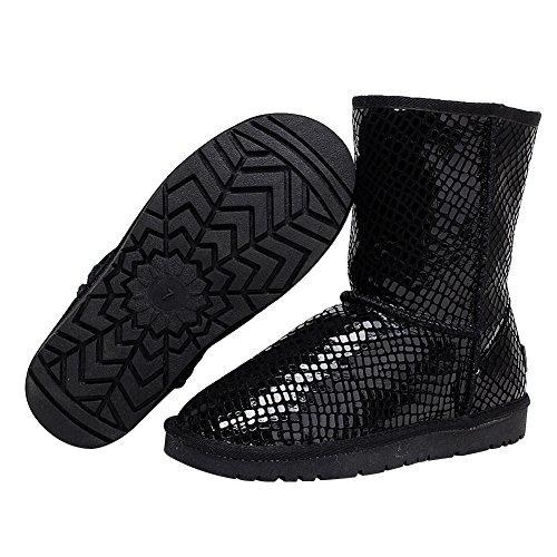Rismart Donne Più Recente Moda Nero Paillette Inverno Stivali Pelliccia Calda Foderato Stivali da Neve nero1