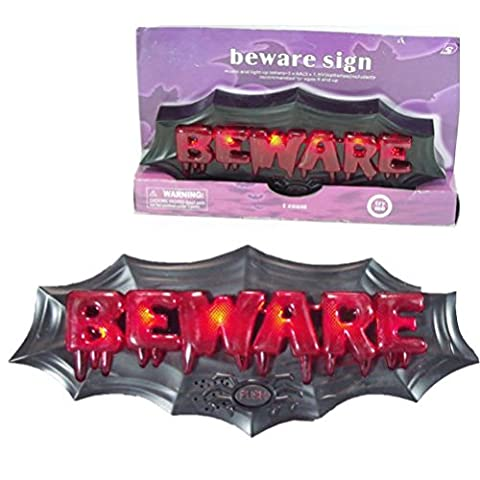 Fun Daisy Light Up Musical Beware Sign Haunted House Scary Lights Hanging Halloween by Fun Daisy Home Series