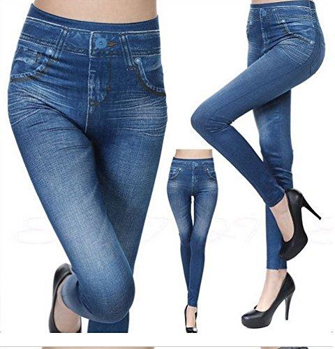 Darrin Frauen Sexy Slim war dünne Hüfthose Nachgemachte Cowboy-Leggings (L, Blau)