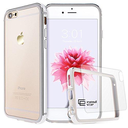 GrandEver iPhone 6/6S Hülle Aluminium Rahmen mit Silikon Bumper + Hart PC Zurück Kombination Transparent Schutzhülle Kratzfeste Handy Hülle für Apple iPhone 6 6S(4.7 Zoll) Handytasche -Silber (Iphone 6 Rahmen)