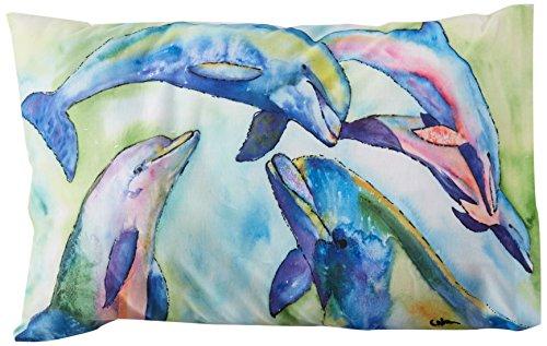 Caroline 's Treasures 8548pillowcase Dolphin Feuchtigkeitstransport Stoff Standard Kissenbezug, groß, multicolor