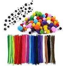 450-pack limpiapipas–chenilla tallos, incluye con Googly Ojos móviles, surtidos pompones, Kids Craft Supplies para proyectos de bricolaje, diversos colores, varios tamaños