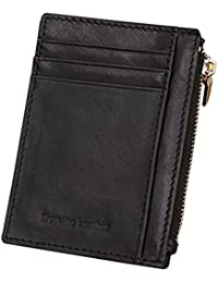 URAQT Men's Leather Wallet / Purse, Slim Id Card Case, Front Zip Pocket