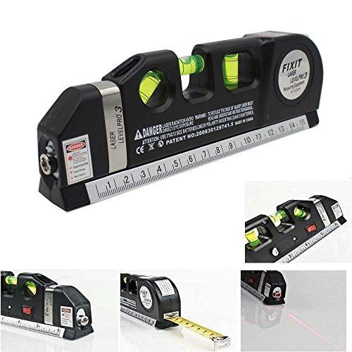 takestop® Triple Wasserwaage Laser Level Pro 4in 1mit Beleuchtung Metro 250cm von Präzision 3Blasen DIY elektronische