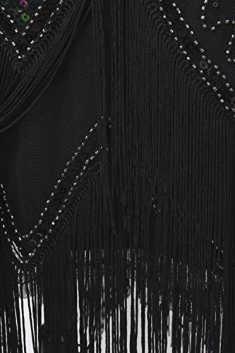 PrettyGuide Femmes Ann¨¦es 1920 Art Deco Paillette Frange Charleston Robe be Cocktail Noir