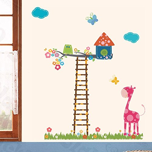 Happy Walls Kids Wall Height Chart Animation - Cartoon Tree House On ladder & Giraffe, Butterfly, Vector Art Wall Sticker/Decals (5777)  available at amazon for Rs.199