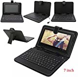 REALMAX® 7 Inch PU Leather Keyboard Stand Case Cover for Android Tablet with Micro USB (7 Inch, Black)