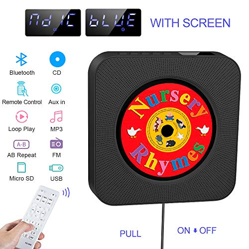 Lecteur de CD Portable, Haut-Parleur HiFi intégré, Lecteur de Musique MP3 Bluetooth avec Fixation Murale au Mur avec Audio pour la Radio FM, Cadeau AUX 3.5mm Jack pour Les Enfants, Les Amis (Black)