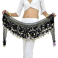 BellyQueen - Cinturón/falda para danza del vinre, talla única, para mujer, 160cm, para disfraz, doble capas, con lentejuelas, con 88 monedas de aleación, de gasa, negro