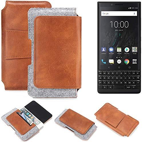 K-S-Trade Gürteltasche für BlackBerry KEY2 (Dual-SIM) Gürtel Tasche Schutz Hülle Hüfttasche Belt Case Schutzhülle Handy Hülle Smartphone Sleeve aus Filz + Kunstleder (1 St.)