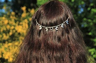 Bijou de tête lunes/croissant de lune/phase lunaire/accessoire coiffure romantique/coiffe headband/pince cheveux/cadeau pour elle/look été