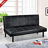 Popamazing schwarz/rot/braun Super Strong Soft Schlafsofa Platzsparendes Design–Bett Größe: 168cm x 93cm x 32cm; Sofa Größe: 168cm x 50cm x 32cm Modern schwarz