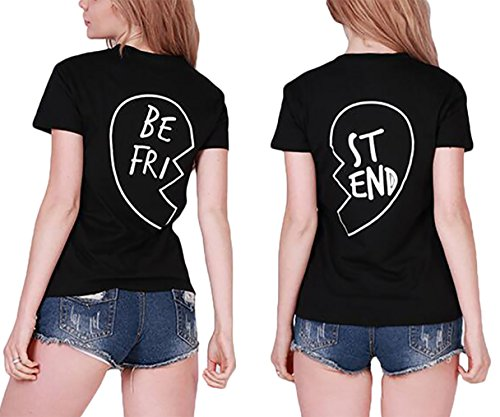 *Best Friends T-shirt Damen Half Heart Pattern Sommer Tops Mädchen Kurzarm 2 Stücke (BE-S+ST-S, Schwarz)*