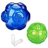 Pawaboo Haustier Hunde Ball, 2 Stück 9cm + 7.6cm Gummiball Hundespielzeug Bball Hunde Ball mit geräuschen für Wepeln, große & kleine Hunde, Haustier, Blau & Grün