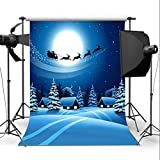 By LussoLiv 7X5FT Christmas Deer Sled Snow Studio Backdrop Photography Prop Photo Background
