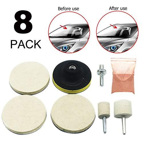 JoyFan 8X Glas Polieren Kratzer Entferner Kit für Auto SUV Windschutzscheibe Front/Heckscheibe 8 Stück weiß