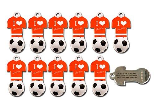 Preisvergleich Produktbild Fußball Schlüsselanhänger AT mit Einkaufswagen-Chip,22 Stück aus Edelstahl mit Schlüsselschutz