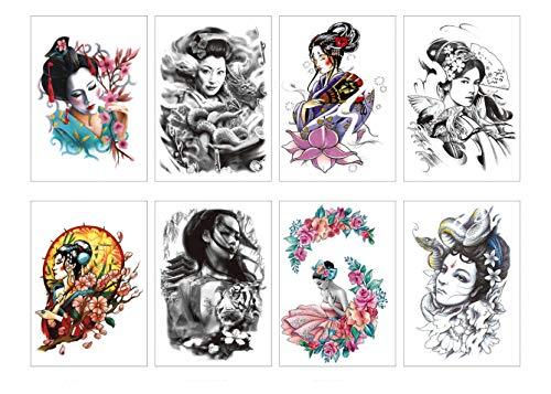 PAMO 8 Sheets Tattoos temporales adultos japonés