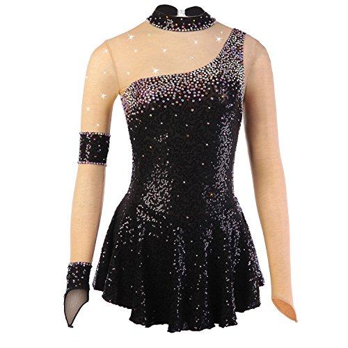 Handarbeit Eiskunstlauf Kleid für Mädchen, Rollschuhkleid Wettbewerb Kostüm Pailletten Strass Eislaufen Kleider langärmelige Schwarz, XL