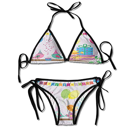 Padded Halter Bikini Set,Song Flags Cone Hats Sexy Bikini 2 Pieces (Halloween Songs Top 10)