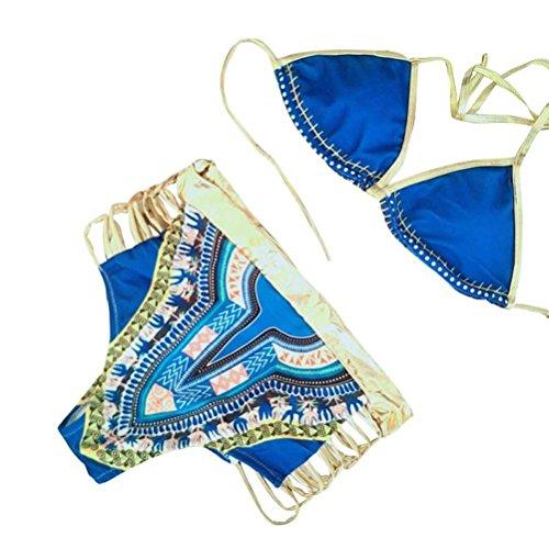 Women's African Dashiki Metallic 2 Stück Bikini Hohe Taille Sexy Printed Badeanzug Merbao (Blau, US (10-12)) (Hohe Unten Goldene Taille)