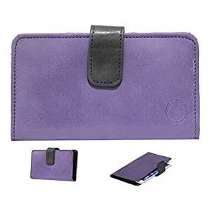 Jo Jo A8 Nillofer Leather Carry Case Cover Pouch Wallet Case For Spice Stellar Glamour Purple Black