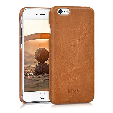 kalibri Coque arrière en cuir véritable pour Apple iPhone 6 / 6S - étui en cuir cover housse de protection en cognac