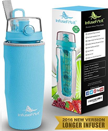 Bottiglia con infusore per acqua aromatizzata alla frutta con esclusiva sacca isolante antitraspirante - Vari colori disponibili - 950ml - Senza BPA - Perfetta per depurare l'organismo, per gli sport e per le attività all'aperto - Azzuro Blu