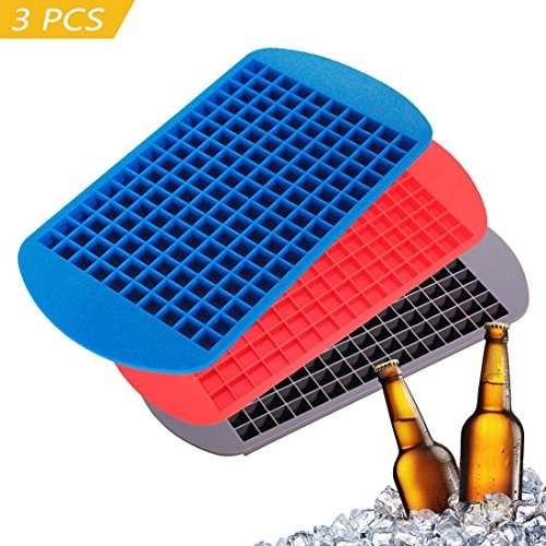 3PCS zugelassen Lebensmittelechtes Silikon 160Raster klein Ice Maker Tiny Ice Cube Tabletts Schokolade Form Maker für Küche Bar Party Drinks Set von 3
