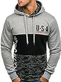 BOLF Herren Kapuzenpullover Sweatshirt Army Kapuze Camo Pullover Hoodie J.Style DD66 Grau M [1A1]
