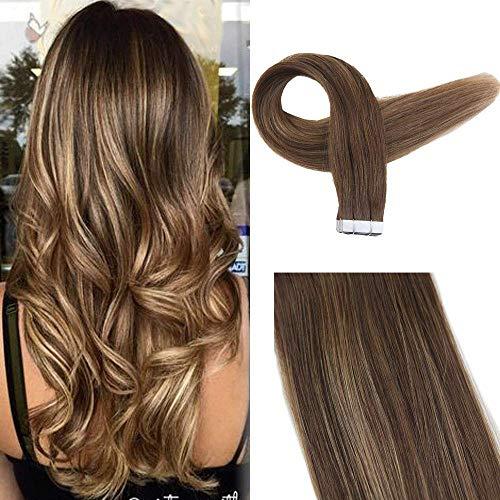 rofessional Hair Extensions 50g 16 Zoll Farbe #4 Mittelbraun Fading To #27 Honigblond Fading To #4 Mittelbraun Band In Ombre Haarverlängerungen Menschliches Haar ()