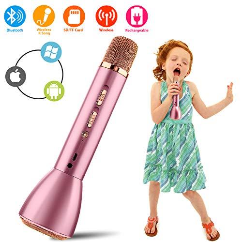 Bluetooth Karaoke Mikrofon, Drahtlos Mikrophon Kabellos Lautsprecher, Handy Karaoke Microphone für Erwachsene Kinder Aufnahme Gesang Sprache KTV Player für PC iPhone iPad Android Smartphone