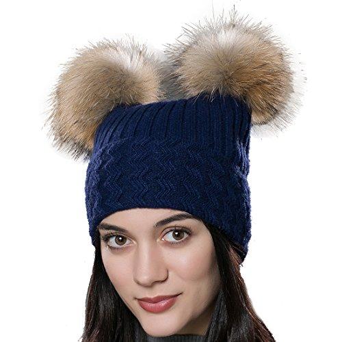 URSFUR Neue Warme Baumwoll Strickmütze Kappen Katze Ohren Beanies mit Fellbommel aus Waschbär (Ohren Blaue Katze)