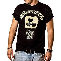 Camiseta Hippie Hombre - WOODSTOCK - Negro XXL