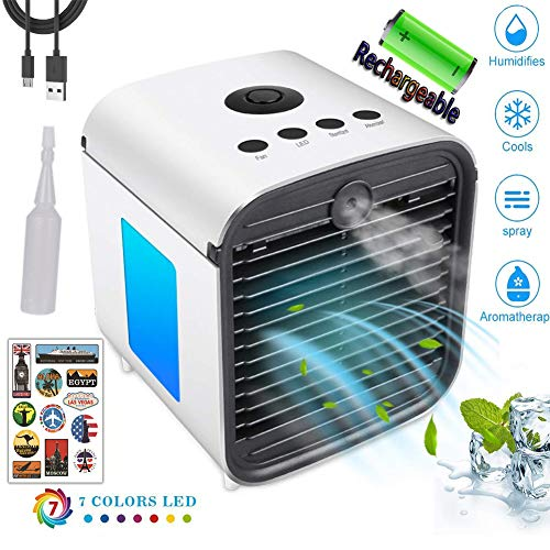 Air Cooler, Tragbare Mobile Klimaanlage, Small Personal Space Luftkühler - 4 in 1 USB Mini Fan & Luftbefeuchter & Luftreiniger & Aromatherapie mit 7 Farben LED (Mit Batterie) -