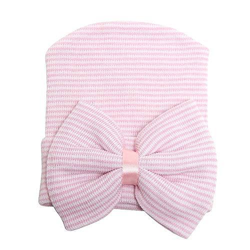 Goodplan Langlebige Baby-Kappen - Neugeborenes Baby-Krankenhaus-Hut-Mütze mit Bogen Nette weiche süße Baby-Kappen-Rosa