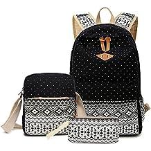 monedero / bolso del lápiz + Shoulder Bag + Mochila-Bolso cartuchera Bolsa de hombro Mochila Grupos de tres gran capacidad de lunares geométrica lona ocio de moda (negro)