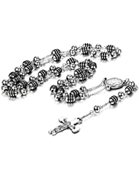 "JewelryWe Newest Catholic Stainless Steel Rosary Beads Long 33"" Necklace with Crucifix Cross and Medal, Silver Black (with Gift Bag)"