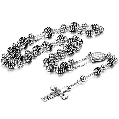 Cupimatch Unisexe Acier inoxydable Chrétien Catholique Rosaire Religieux Crucifix Croix Pendentif Long Link Collier Chaîne
