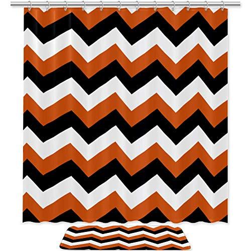 2 Pieces Decorative Black Orange Chevron Halloween Print Bathroom Decor Set,Waterproof Polyester Fabric Shower Curtain Non-Slip Bath Mat Memory Foam with Matching
