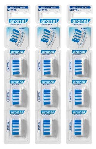 Aronal Zahnbürste öko-dent Wechselkopf, mittel, Nachfüllpack, 3er Pack (3 x 3 Stück)