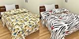 India Get Shopping Blue Multi Floral & Zebra Lines with Tulip Prints Reversible Single Bed AC Blanket/Dohar Combo Set of 2