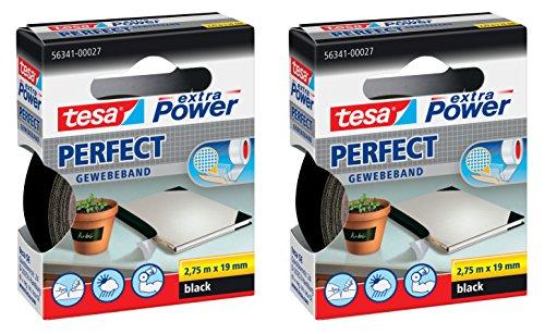 TESA extra Power Gewebeband (19 mm │ 2er Pack, Schwarz)