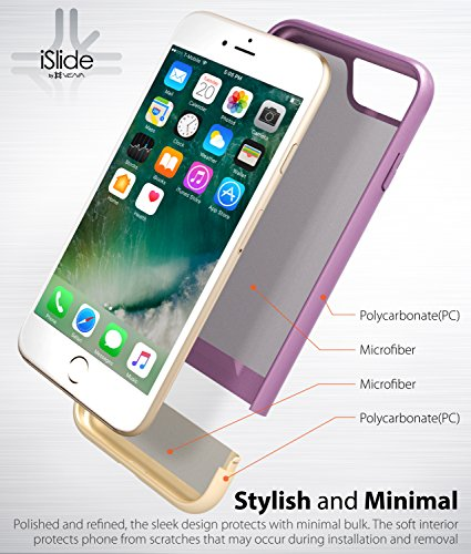 "Coque iPhone 8 / 7, Vena [iSlide][Two-Tone] Dock-Friendly Slim Fit Hard Case Cover pour Apple iPhone 8/7 (4,7"") - Rot / Gold Lavande / Champagne or"